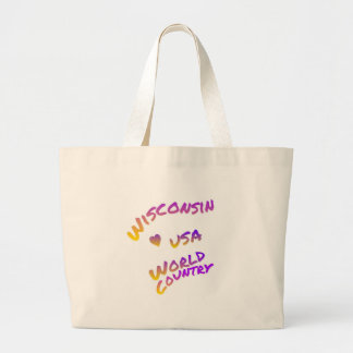 Wisconsin usa world country, colorful text art large tote bag