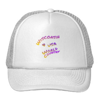 Wisconsin usa world country, colorful text art trucker hat
