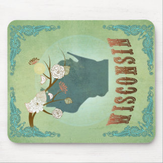 Wisconsin Vintage State Map – Green Mousepads