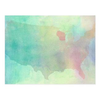Wisconsin Watercolor Postcard