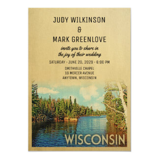 Wisconsin Wedding Invitation Vintage Lake Nature