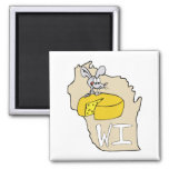 Wisconsin WI Map & Cheese Mouse Cartoon Art Square Magnet