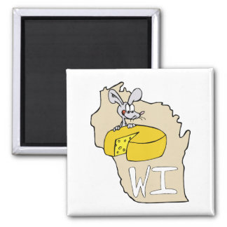 Wisconsin WI Map & Cheese Mouse Cartoon Art Magnet