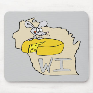 Wisconsin WI Map & Cheese Mouse Cartoon Art Mouse Pads