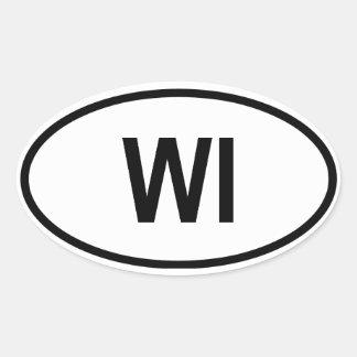 """Wisconsin """"WI"""" Oval Sticker"""