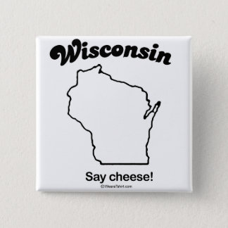 """WISCONSIN """"WISCONSIN STATE MOTTO"""" T-shirts and Gea 2 Inch Square Button"""