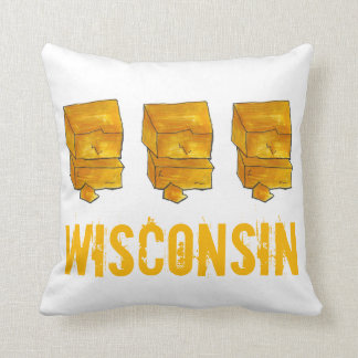 Wisconsin Yellow Cheddar Cheese Madison WI Foodie Throw Pillow