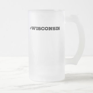 Wiscosnin Hashtag Glass Beer Mug