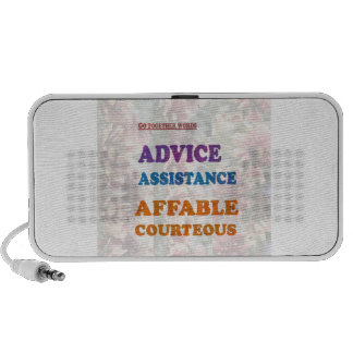 Wisdom Checklist: ADVICE assistance affable kind Travelling Speakers