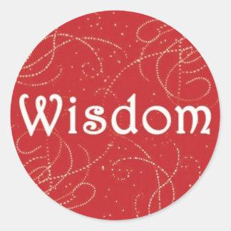 Wisdom on Red Background Round Sticker