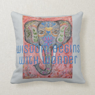 Wisdom Painted Elephant Watercolor Throw Pillow