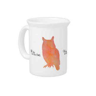 Wise as an Owl Woodland Watercolor Pitcher