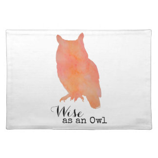 Wise as an Owl Woodland Watercolor Placemat