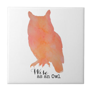 Wise as an Owl Woodland Watercolor Tile