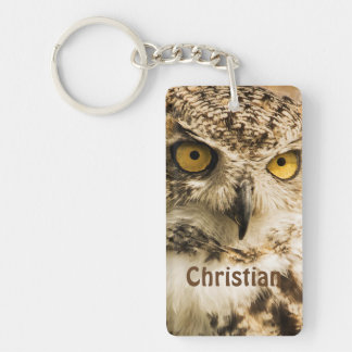Wise Brown owl looking at you add name Keychain