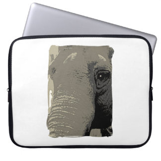 Wise Elephant Eye Closeup in Grays Laptop Sleeve