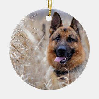 Wise German Shepherd Puppy Ceramic Ornament