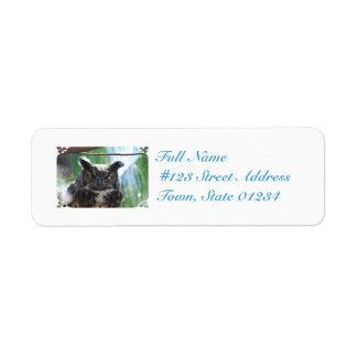 Wise Long Eared Owl Return Address Label