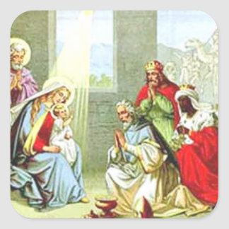 Wise Men At The Nativity Square Sticker