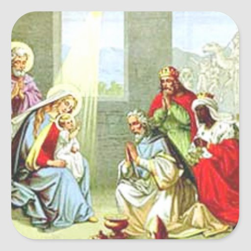 Wise Men At The Nativity Sticker