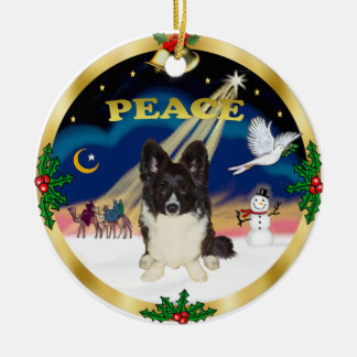 Wise Men - Bi Black Welsh Corgi Round Ceramic Ornament