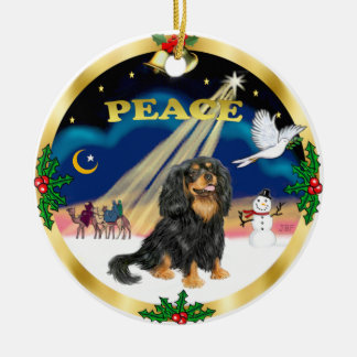 Wise Men - Black and tan Cavalier King Charles Round Ceramic Ornament