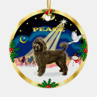 Wise Men -Brown Portuguese Water Dog Round Ceramic Ornament