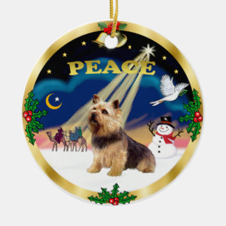 Wise Men - Norwich Terrier Round Ceramic Ornament