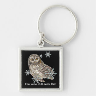Wise Men Still Seek Him Quote Owl Bird Silver-Colored Square Keychain