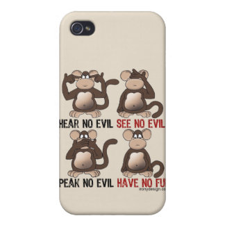 Wise Monkeys Humour iPhone 4/4S Covers