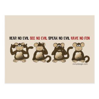 Wise Monkeys Humour Postcard