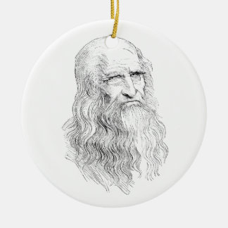 Wise Old Man Line Drawing Ceramic Ornament