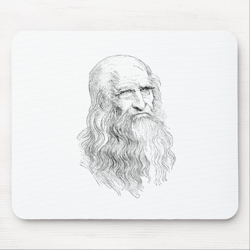 Wise Old Man Line Drawing Mousepad