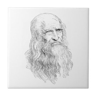 Wise Old Man Line Drawing Tile