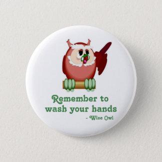 Wise Owl 2 Inch Round Button