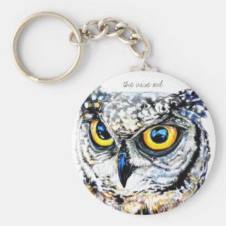 Wise owl art illustration basic round button keychain
