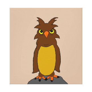 Wise owl stretched canvas prints