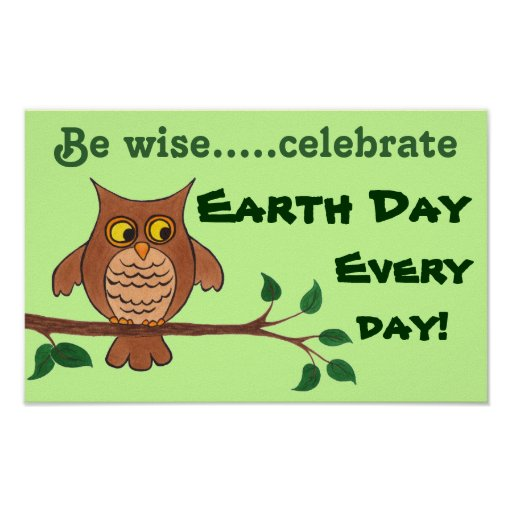 Wise Owl - Earth Day - Customizable Poster