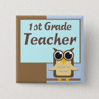 Wise Owl First Grade Teacher Button