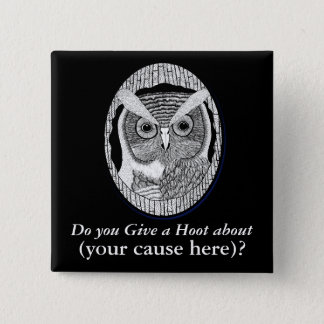 Wise Owl Support Badge 2 Inch Square Button