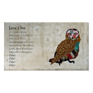 Wise Owl White Vintage Business Cards