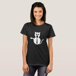 Wise Rocker Cat Drinking Tea/Coffee with Tie T-Shirt