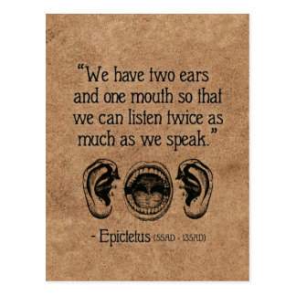 Wise Roman quote on Listening - postcard
