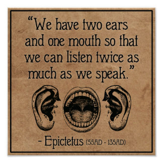 Wise Roman quote on Listening - poster