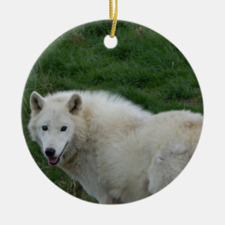 wise wolf ceramic ornament