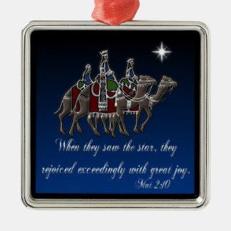 Wisemen/ Mat 2:10 Silver-Colored Square Ornament