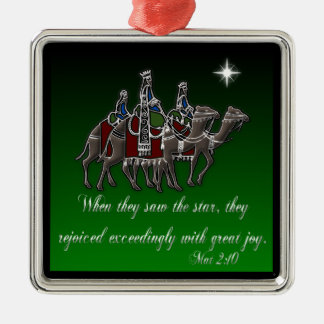Wisemen/ Mat 2:10 Silver-Colored Square Ornament