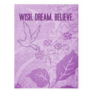 Wish. Dream. Believe. Postcard