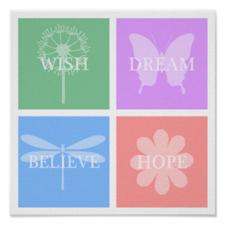 Wish, Dream, Hope, Believe Pastel Patchwork Poster
