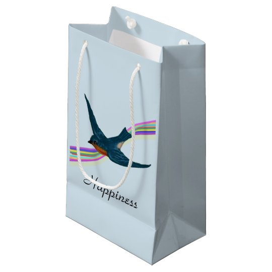 Wish for Happiness, Bluebird and Rainbow Small Gift Bag